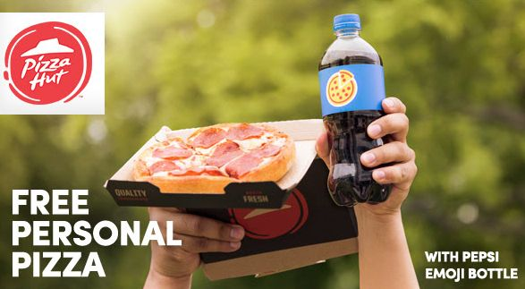 #Free #Pizza from Pizza Hut with Pepsi #Emoji Bottle.
