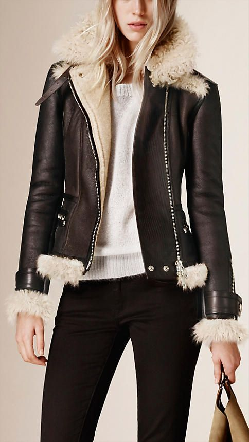 Dark brown/dark ecru Shearling Aviator Jacket - Image 1