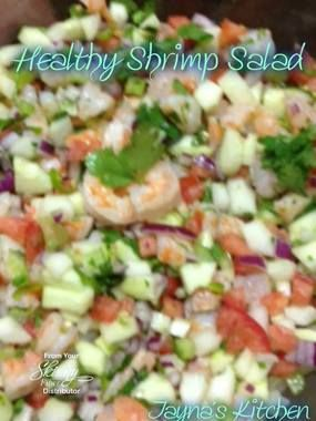 Light and refreshing! HEALTHY SHRIMP SALAD Ingredients & Directions: 2 cucumbers - diced small 2 Roma tomatoes -diced small 1 red onion - diced small (Are you getting the theme? lol ) 1 stalk of...