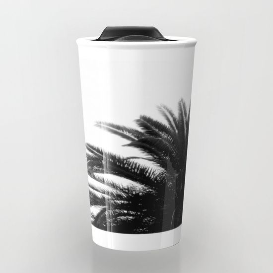 """Palm tree Travel Mug by ARTbyJWP from Society6 #mugs #travelmug #coffeemug #blackandwhite #palmleaves #artbyjwp -  Take your coffee to go with a personalized ceramic travel mug.  Double-walled with a press-in suction lid, the two-piece (12oz) design ensures long lasting temperatures while minimizing the risk of spillage from kitchen to car to office. Standing at just over 6"""" tall with wrap around artwork, safely sip hot or cold beverages from this one of a kind mug."""