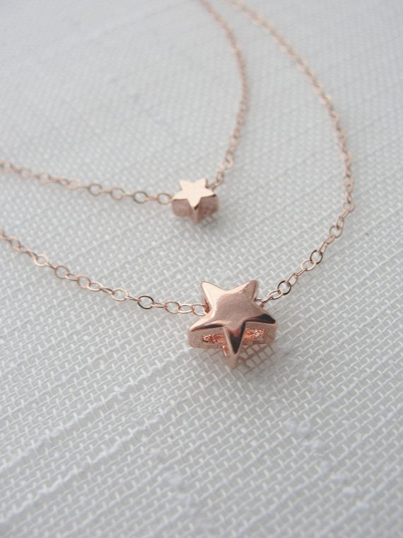 Double rose gold star necklace - love rose gold