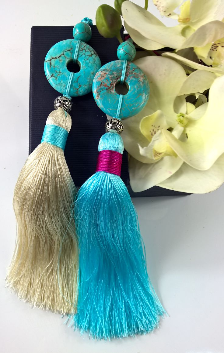 Manual tassel hanging ear, blue turquoise blue hanging ear, tassel, golden tassels, wedding jewelry