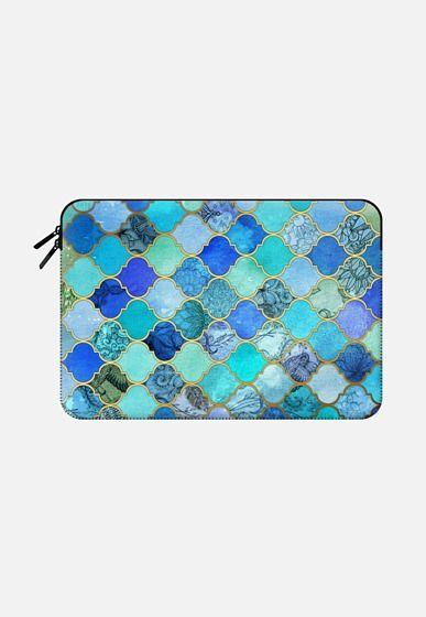Cobalt Blue, Aqua & Gold Decorative Moroccan Tile Pattern Macbook Pro 13 sleeve by Micklyn Le Feuvre   Casetify