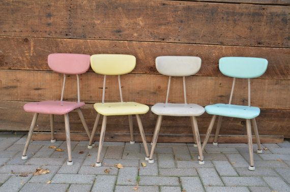 Retro Eames Era Kids School Chairs Set of 4 by sugarSCOUT on Etsy, $225.00