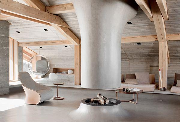 mountain chalet  designer Noe Duchaufour Lawrance: Modern Interiors Design, Duchaufour Lawrance, Architects, Livingroom, Fireplaces, Living Room, House, French Alps, Ski Chalets