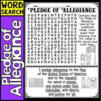 "Pledge of Allegiance: How about discussing the US Pledge of Allegiance with your students. They may say it each day but do they really know what the words mean? This is a great way to get them talking. Your students will enjoy this fun ""Pledge of Allegiance"" word search!!"