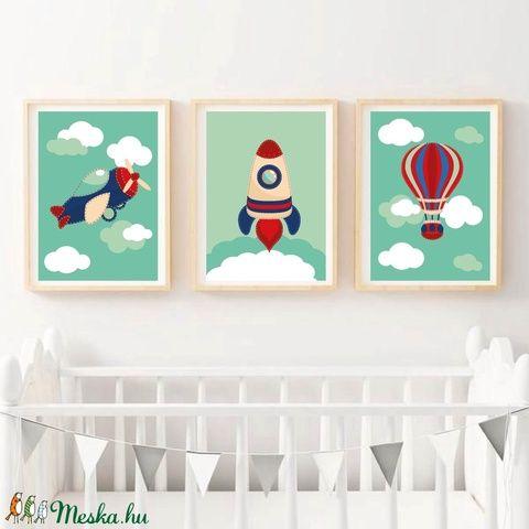 Babaszoba falikép, dekoráció, print, grafika - jármű:repülő, hőlégballon, rakéta - 3db A4-es (kkreabeaa) - Meska.hu
