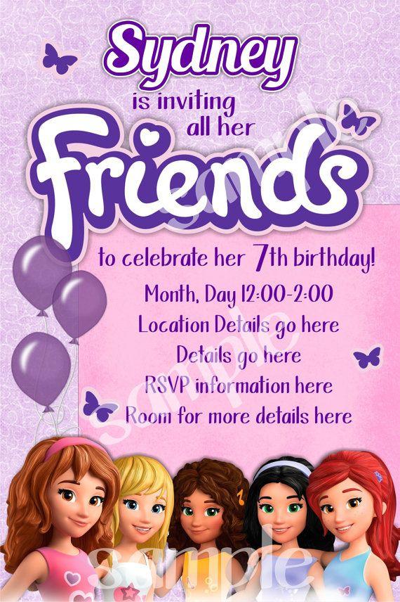 Lego Friends Birthday Invitation by BenAnnaInvites on Etsy, $10.00