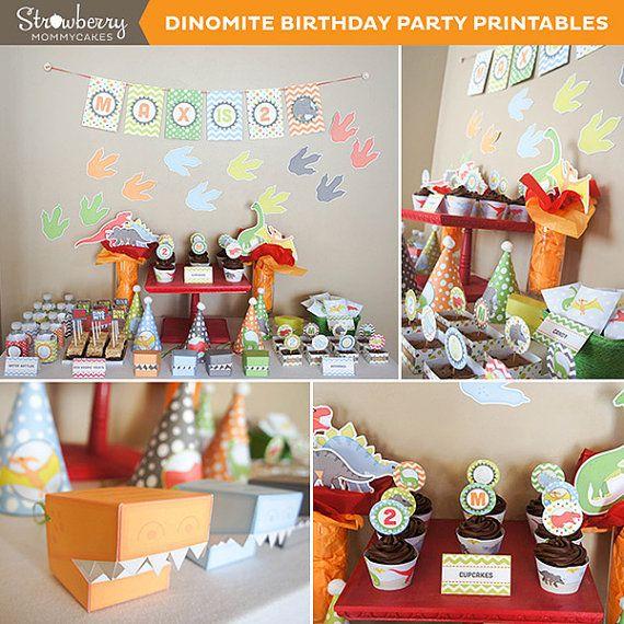 DIY DINOmite Dinosaur Party Printables by strawberrymommycakes