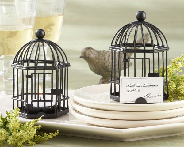 Love Songs Birdcage Tealight Wedding Place Card Holders - love these favors! - at Affordable Elegance Bridal - 48