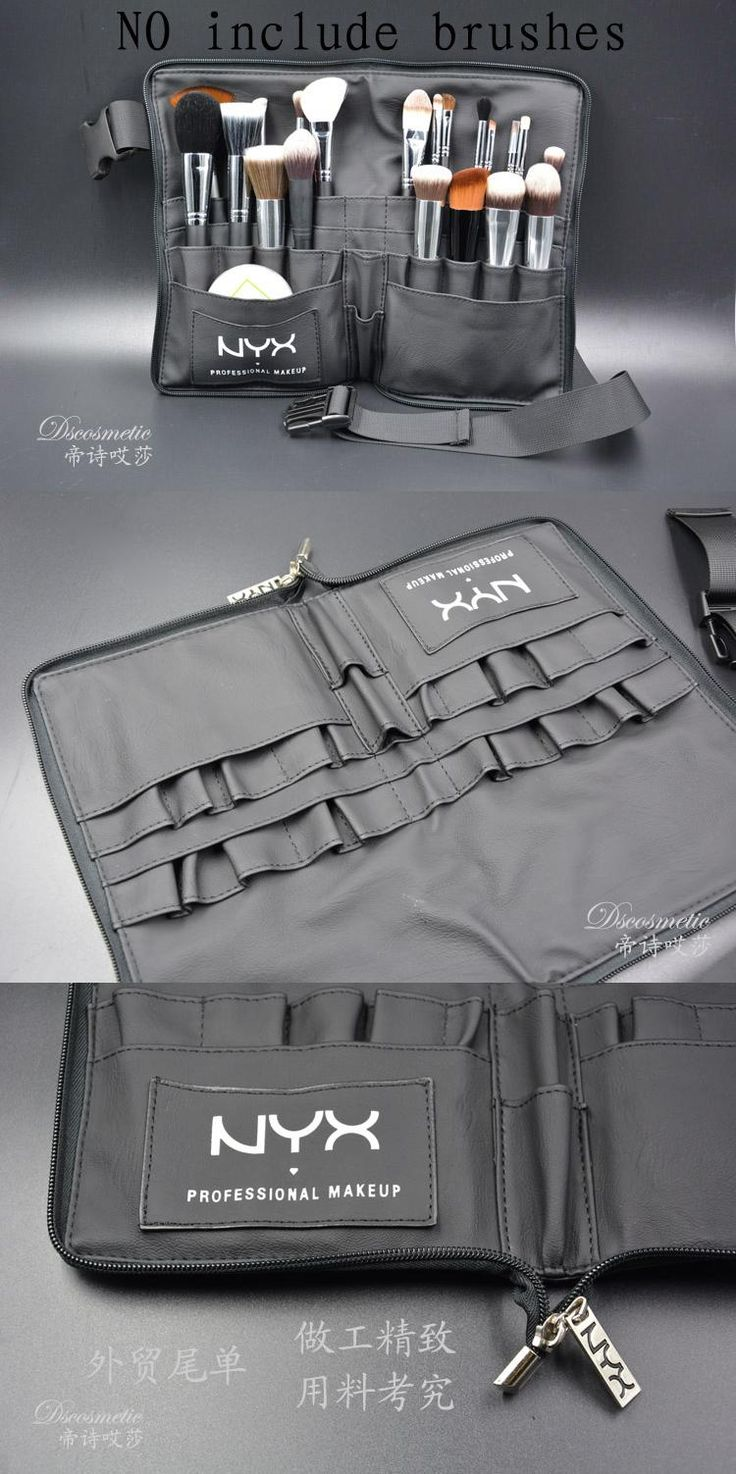 [Visit to Buy] Black Two Arrays Makeup Brush Holder Professional PVC Apron Bag Artist Belt Strap Portable Make Up Bag Cosmetic Brush Bag #Advertisement