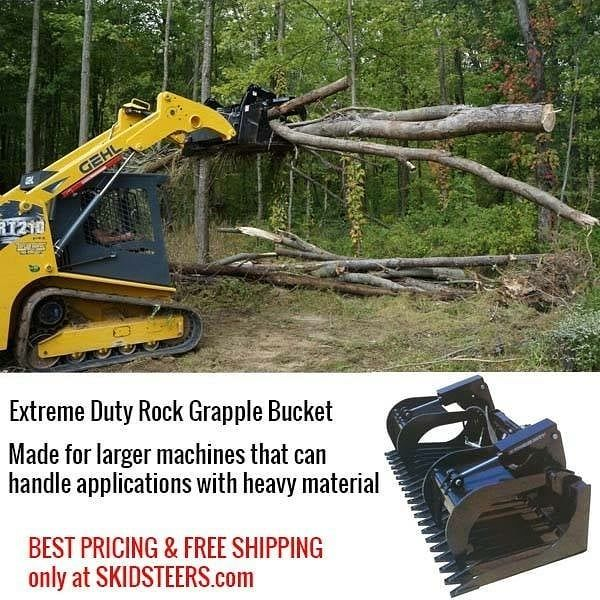 Rock Grapple Bucket - Extreme Duty - For extreme applications such as demolition. See pricing and details at https://www.skidsteers.com/rock-grapple-bucket-extreme-duty.html or call 866-315-3134.  #bobcat #caterpillar #heavyequipment #dirtwork #earthmoving #equipment #heavyequipmentlife #dirtmover #heavymachinery #johndeere #kubota #dirtmoving #earthmover #skidsteer #skidloader #dirtlife #skidsteers_daily #construction #landscaping #excavator #farming #farmer #dairyfarming #treeremoval…