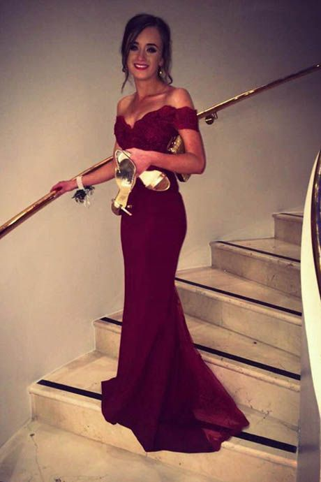 Mermaid Sweep Train Off Shoulder Lace Burgundy Long Prom/Evening Dress