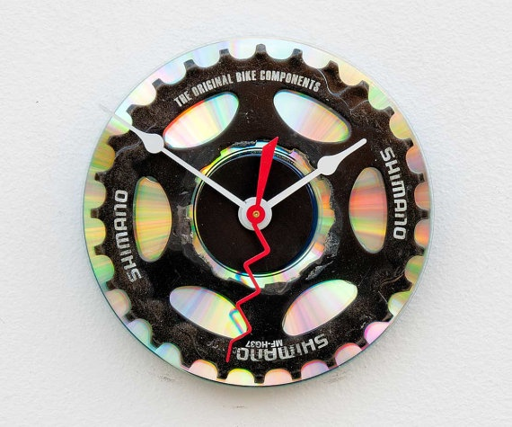 Pixelthis on Etsy - $28 original Clock made from a recycled Shimano Bike cassette gear