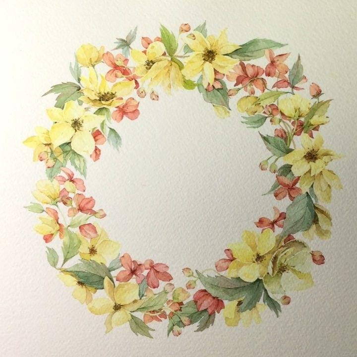 오늘도 겨울 일러스트 포인세티아 꽃 꽃그림 식물 수채화 그림 일러스트 겨울 크리스마스 일러스트레이터 Aquarelle Watercolor Watercolour Waterblog Artshow Flowers Art 꽃그림 리스 그림