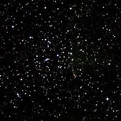 Open Cluster M36 (also known as Messier Object 36, Messier 36, M36, or NGC 1960) is an open cluster in the Auriga constellation. It was discovered by Giovanni Batista Hodierna before 1654. M36 is at a distance of about 4,100 light years away from Earth and is about 14 light years across. There are at least sixty members in the cluster. The cluster is very similar to the Pleiades cluster (M45), and if it were the same distance from Earth it would be of similar magnitude.