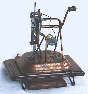 ❤✄◡ً✄❤ Patented in France in 1864, this strange looking sewing machine surely rates as one of the earliest toys, and is attributed to Laurent-Marie Renée Pean.  - http://www.dincum.com/library/libraryimages/lib_pean.jpg