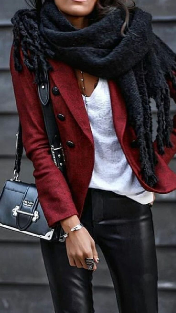 Red – black and white for 2018 winter  #black #Red #white #Winter