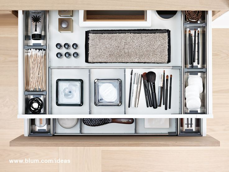Organized bathroom drawer with ORGA-LINE inner dividing system from Blum. Keep your drawers neat and tidy. More inspiration for interior organization on www.blum.com/ideas