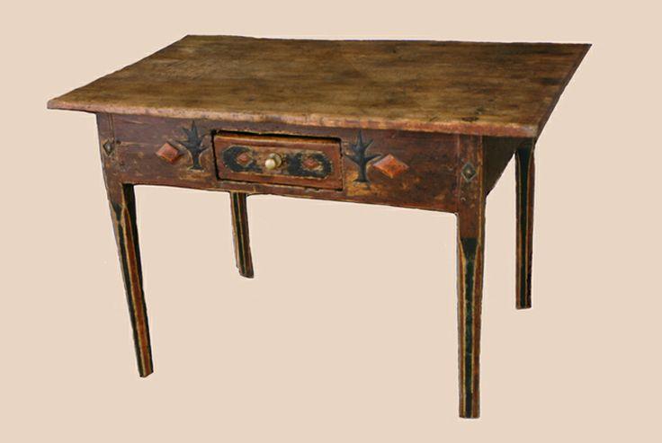 Table de facture art populaire, milieu du 19e siècle. Coll.  Simon Lamoureux