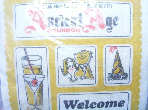 Vintage1960s NOS Ancient Age Bourbon Cocktail Napkins, Coaster,Stirrers & Picks on Etsy, $10.00