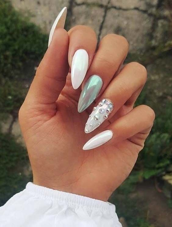 10 Cutest Sharp Long Nail Art Designs in 2018. Still looking for best  shapes for best nail designs? We suggest you to visit this post for amaz… - 10 Cutest Sharp Long Nail Art Designs In 2018. Still Looking For