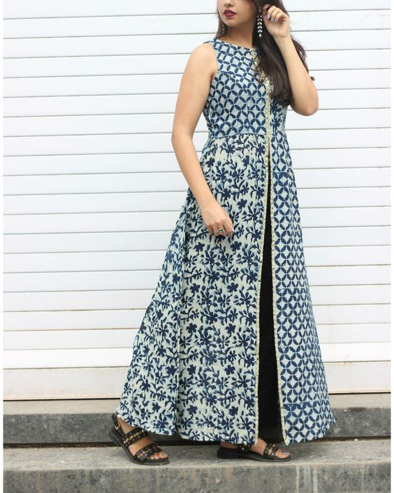 Indigo Cotton Printed Front Cut Kurti