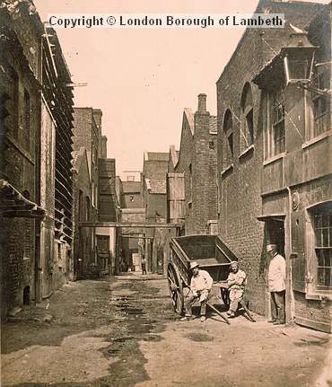 c 1860 Upper Fore Street, Lambeth, later replaced by the Albert Embankment and showing various factory and manufacturing premises. On the far right is Alfred Hunt's bone merchant warehouse and to the left can be seen a purpose-built whiting storehouse, 'which when stored, looked like a dovecote or pigeon house with the birds roosting'. Photo by William Strudwick