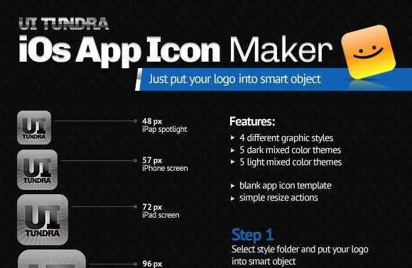 iOs App Icon MakerDesign Devisers iOs classic icon maker. One basic 512×512px PSD file. Also 6 simple ATN files for fast resize included: – 144px retina ipad main screen – 114px retina iphone screen – 96px retina ipad spotlight – 72px ipad main screen – 57px iphone screen – 48 ipad spotlight