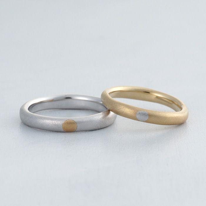 【ithマリッジリング】K18(ゴールド),Pt900(プラチナ)象嵌/マリッジリング:Mese(メーゼ) [marriage,wedding,ring,結婚指輪,ウエディング,bridal,ブライダル]