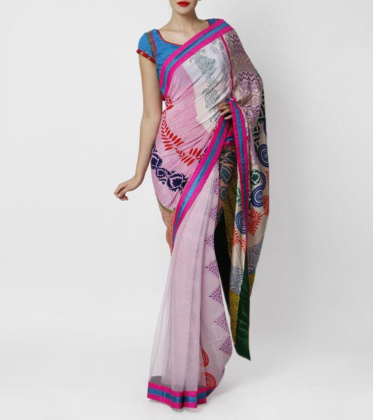 Pink Block Printed Saree