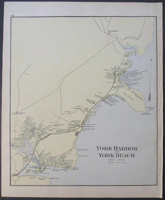 1890 York Harbor And Beach Maine Cape Neddick Beaches Landowners