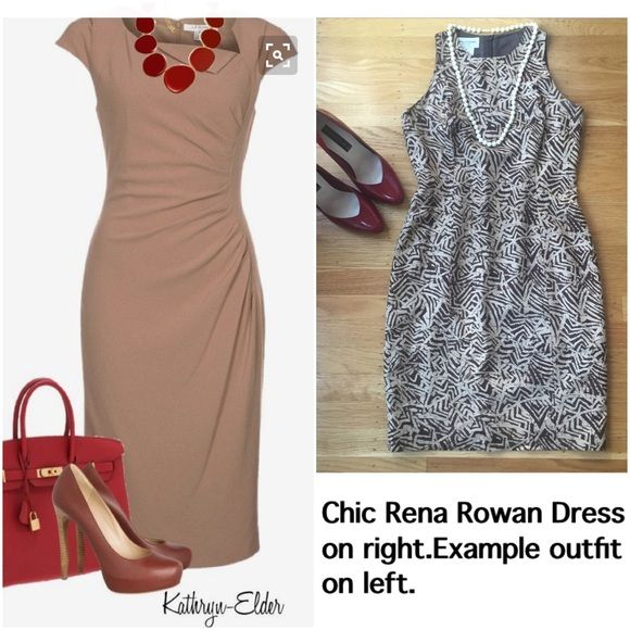 """Rena Rowan dark and light brown print dress. Sophisticated Rena Rowan two tone brown dress can help you get ready for spring. The Rowan is shown on right in cover picture.  On left of cover is example of brown dress ensemble.34"""" from shoulder to hem. 16""""from under arm to under arm.  27 1/2"""" waist. 35 3/4"""" hips.  Bundle with Steve Madden red shoes and get 20% discount.  Dress in very good condition.  Simply elegant! Rena Rowan  Dresses Mini"""