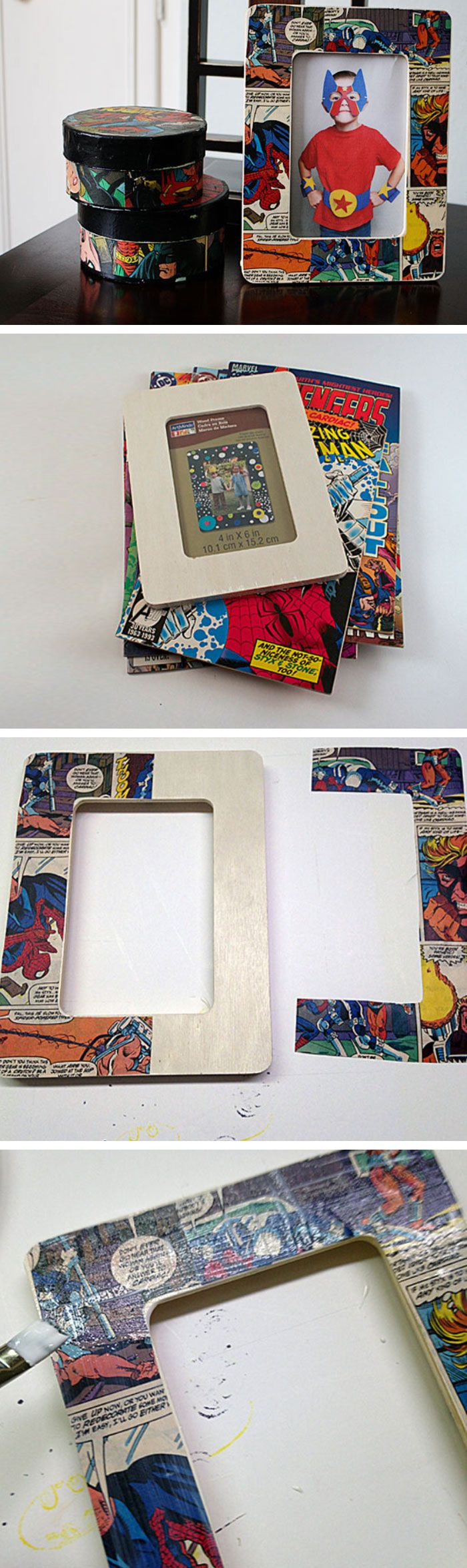 Decoupage Comic Book Frame   20 DIY Fathers Day Gift Ideas from Wife   DIY Holiday Gift Ideas for Men
