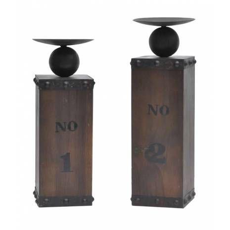 Wine Crate Candleholder Set