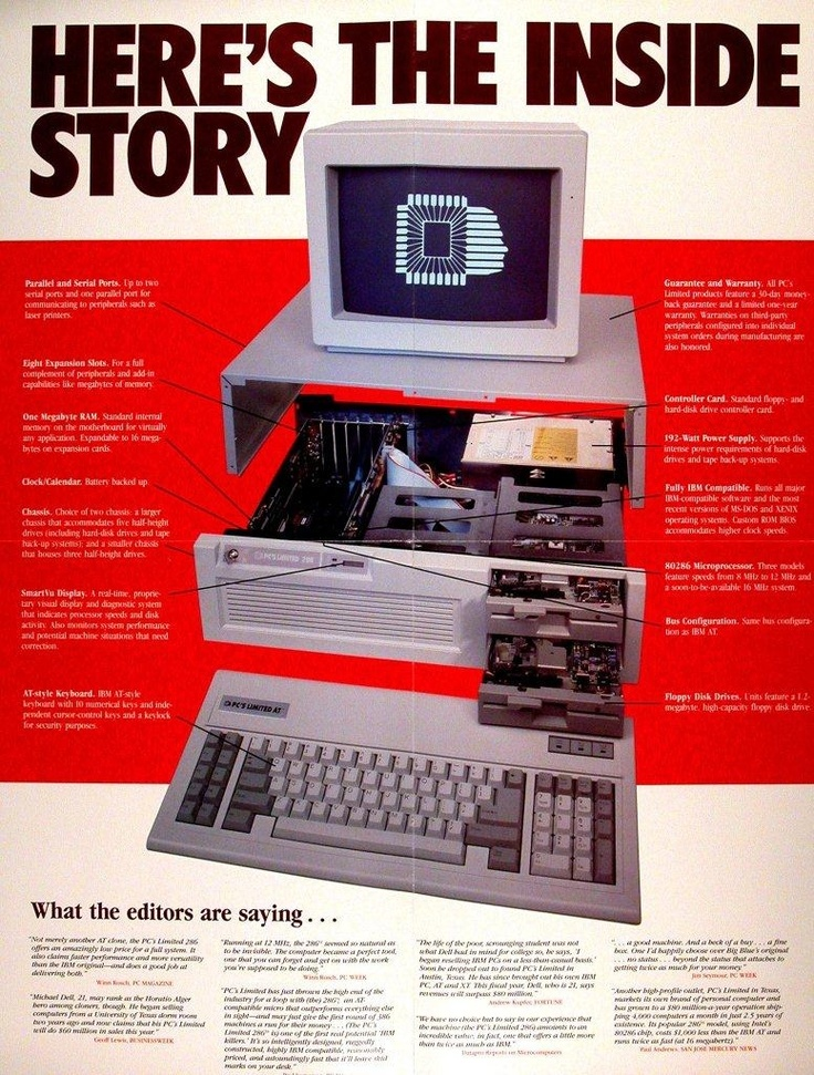 1985 - The first Dell computer (still under the PC's Limited brand) is born. By being able to buy direct from the manufacturer, customers find the price of the new Turbo PC well within reach. The fully customizable unit sells for just $ 795.