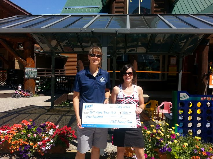 The Fernie Alpine Resort Summit fund recently donated $500 to the Fernie Trails Alliance for their annual Role & Sole Trails Festival.  Shown in the image is Karen Pepper from Fernie Alpine Resort & Julie Kelly from the Trails Alliance.