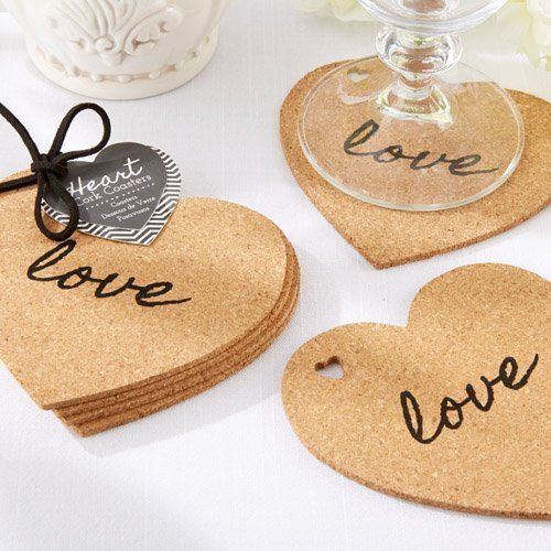 Creative Wedding Favor Ideas from Beau-coup: Heart Shaped Cork Coasters. To see more: http://www.modwedding.com/2014/06/09/creative-wedding-favors/ #wedding #weddings #weddingfavor