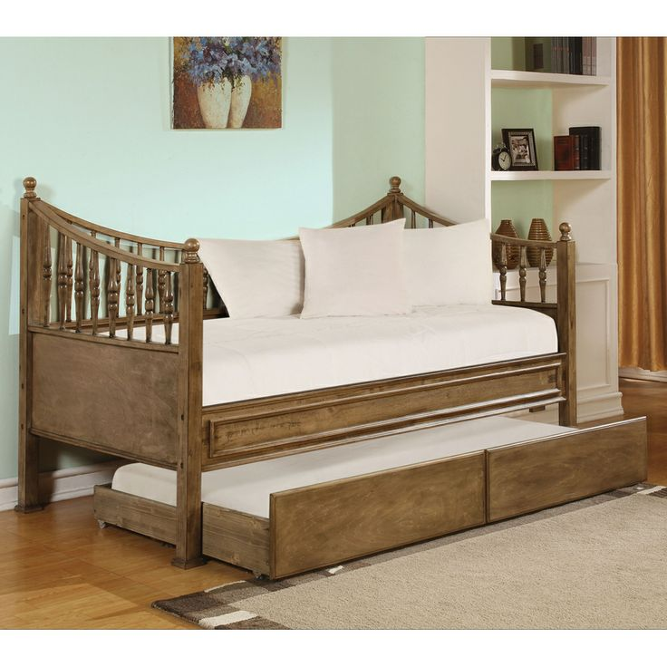Joshua Wood Daybed by Acme Furniture | Wooden Daybed Roll Out Trundle