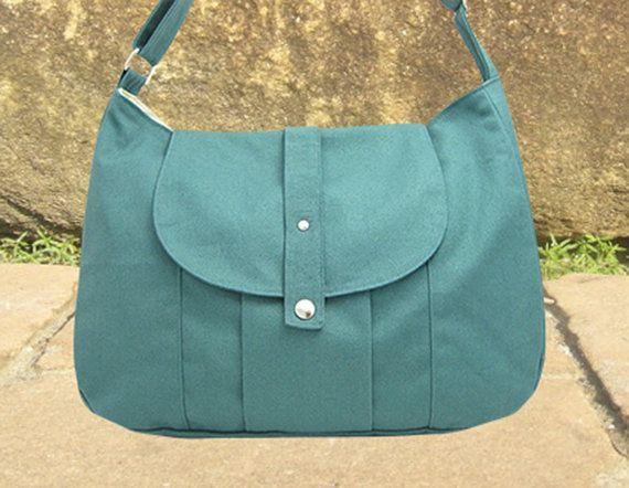 Mint grün Baumwolle Canvas Messenger Tasche / von Markfabric