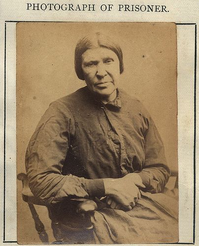 "Elizabeth Rule - Elizabeth Rule (AKA Elizabeth Smith, Elizabeth Brown) was convicted of stealing clothing and bed linen 5 times between 1867 and 1872. For these convictions she served a total of 11 months 14 days.  Age (on discharge): 54 Height: 5'3"" Hair: Grey Eyes: Blue Place of Birth: Edinburgh Status: Widow Occupation: Charwoman [house cleaner]  These photographs are of convicted criminals in Newcastle between 1871 - 1873."