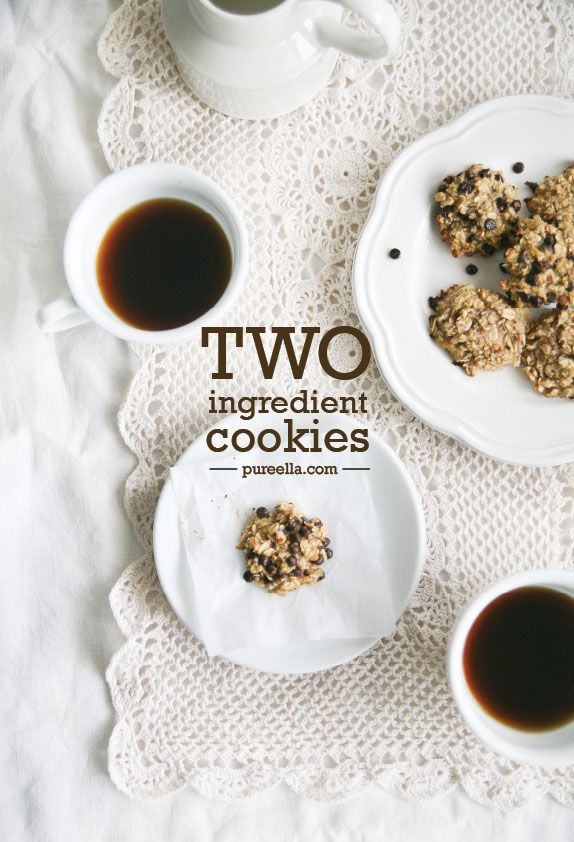 Two ingredient Cookies : naturally gluten-free, vegan and sugar-free 2 very ripe organic medium bananas 1 cup gluten-free certified* rolled oats**  add ins : 1/4 cup dark chocolate chips or dried fruit or nuts, hemp or sunflower seeds or even spices like a teaspoon of ground cinnamon. Have fun!