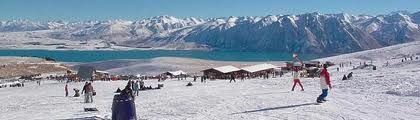Round Hill Ski Fields, Tekapo. Lake Tekapo is a vivid blue lake because it is glacier feed.