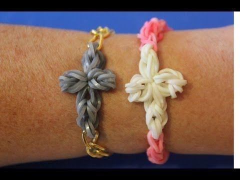 ▶ Cómo hacer una pulsera de gomitas con cruz de gomas - YouTube