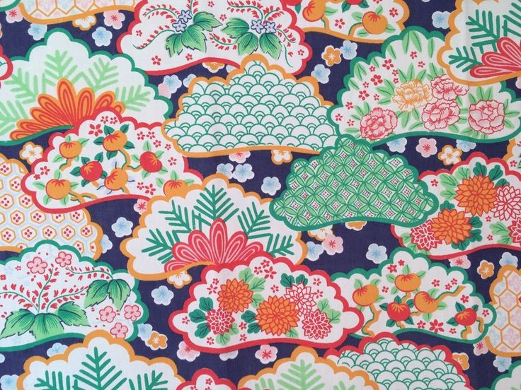 vtg Wamsutta FULL FLAT Sheet Kimono Asian 1970s fabric percale retro floral #Wamsutta #AsianModern