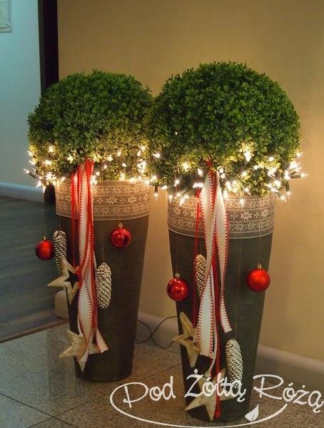 Looks like my favorite plants in their pots - that need to come in before Christmas anyway!  Prim down décor on sides - love the lights!