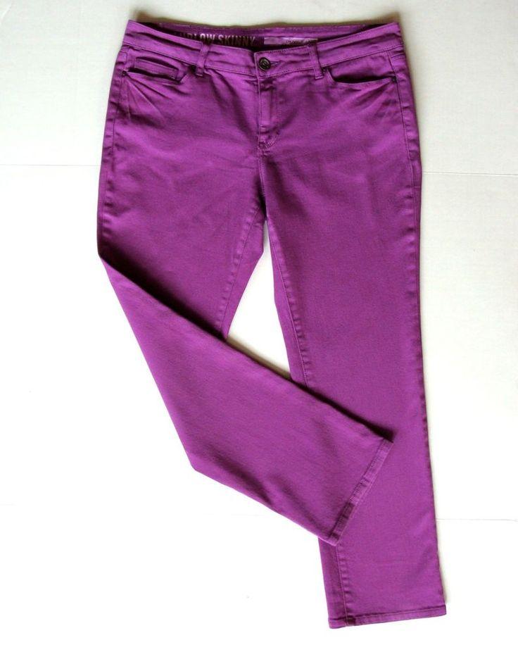 DKNY Purple Skinny Jeans 14P 14 P L XL Petite Slimming Stretch Slim Violet Pants #DKNY #SlimSkinny #jeans