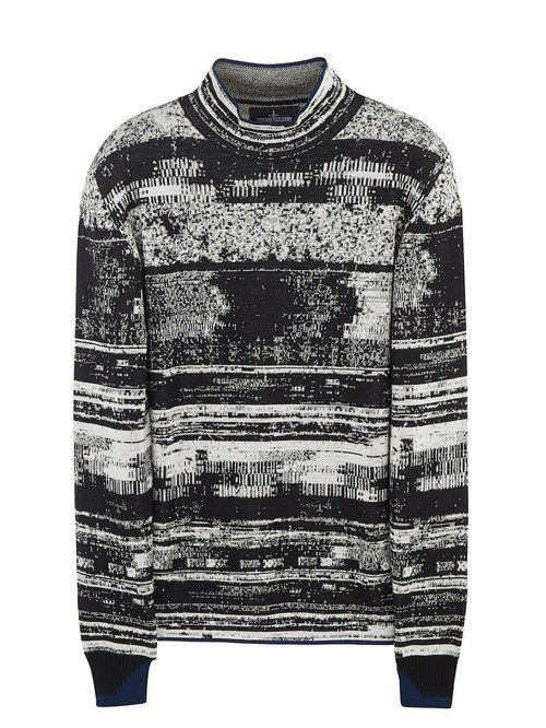 STONE ISLAND SHADOW PROJECT Mock Neck Glitch Effect Sweater Alter the neck on this and you've got one sick piece of knitwear!