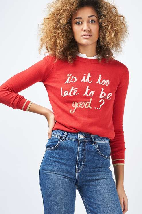 Fine gauge boxy novelty knit jumper with christmas too Late slogan. #Topshop
