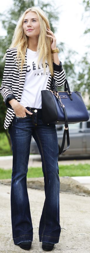 Street style | Striped blazer, flared jeans and Celine shirt